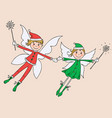 couple of the joy winter elves vector image vector image