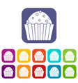 cup cake icons set flat vector image vector image