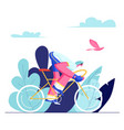 cyclist sportsman in sports wear riding bike vector image
