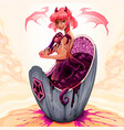 devil girl is taking a bath into amethyst vector image