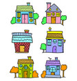 doodle of house set colorful cartoon vector image vector image