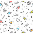 doodle seamless pattern with eyes hearts lips vector image vector image