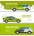 eco cars banners alternative power energy vector image