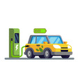 electric car charging at the charger station vector image vector image