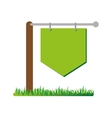 Empty signpost on grass icon vector image
