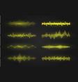 equalizer waves on black background realistic set vector image vector image