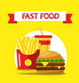 fast food flat design on yellow background french vector image vector image