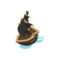 flat isometric pirate ship vector image vector image