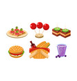 flat set of food and drink icons vector image vector image