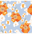 floral seamless pattern with orange peonies vector image