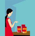 girl at village market chooses craft jam vector image vector image