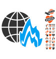 global fire icon with love bonus vector image vector image