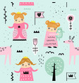 hand drawn seamless pattern with little princess vector image vector image