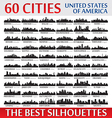 Incredible skyline set 60 city silhouettes of USA vector image vector image