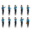 isometric icons of womans emotions 3d body vector image