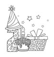 kids birthday cartoons black and white vector image