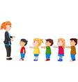 kids with arms up standing in line in front of the vector image