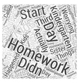 kindergarten homework Word Cloud Concept vector image vector image
