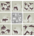 large set ofAfrican animals and abstract seamless vector image