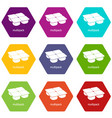 many packages icons set 9 vector image