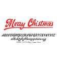merry christmas handwritten latin alphabet can vector image vector image