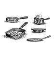 pans cooking pots set dishes vector image vector image