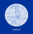 portugal round concept with icons in line style vector image vector image