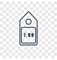 price concept linear icon isolated on transparent vector image vector image