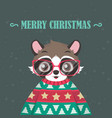 raccoon portrait in ugly christmas sweater vector image vector image