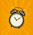 ringing alarm clock retro comic pop art vector image