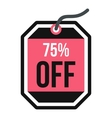Sale tag 75 percent off icon flat style vector image