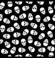 seamless pattern white skulls on a black backgroun vector image vector image