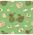 Seamless Pattern with Bicycles Envelopes Parcels