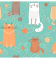 Seamless pattern with cute cats and balls of yarn vector image vector image