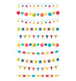 set flat buntings garlands with ornaments vector image vector image