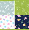 set of floral patterns backgrounds with flowers vector image