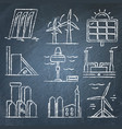 set of renewable energy hand drawn icons on vector image vector image