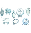 set sheep in different poses vector image vector image