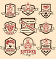 set vintage meat store labels design element vector image