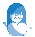 silhouette pretty girl with heart and glasses vector image vector image
