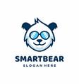 Smart bear in sunglasses logo design template