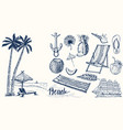 summer set vintage vacation collection with vector image