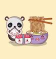 sushi and panda kawaii vector image