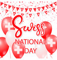 swiss national day design card vector image vector image