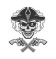 vintage pirate skull with eye patch vector image vector image