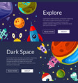 web banners with cartoon space vector image vector image