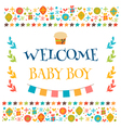 Welcome baby boy shower card Arrival card Cute vector image