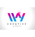 wy w y letter logo with shattered broken blue vector image vector image