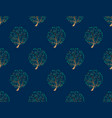 green tree seamless on indigo blue background vector image