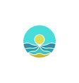 Tourism mockup logo sun sea sand abstract icon vector image